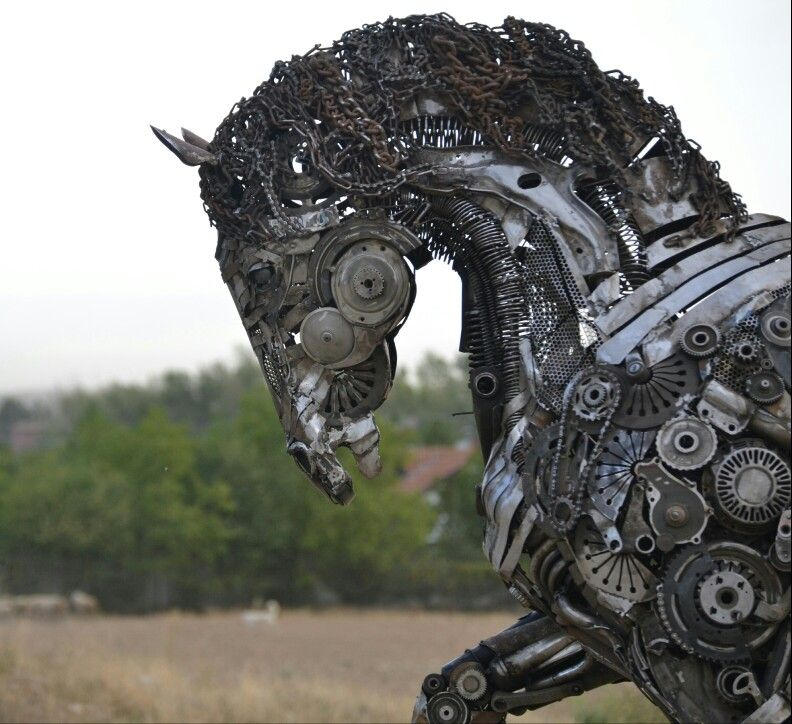 Metal Sculpture Artist By Cem Özkan Scrapmetal Metalsculpture - Salvaged scrap metal transformed to create graceful kinetic steampunk sculptures