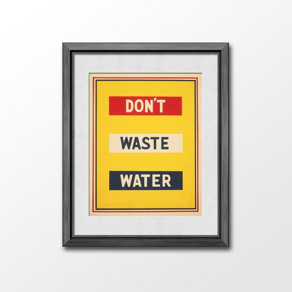 Don\'t Waste Water Typographic Print - Retro Bathroom decor by Vigrre ...