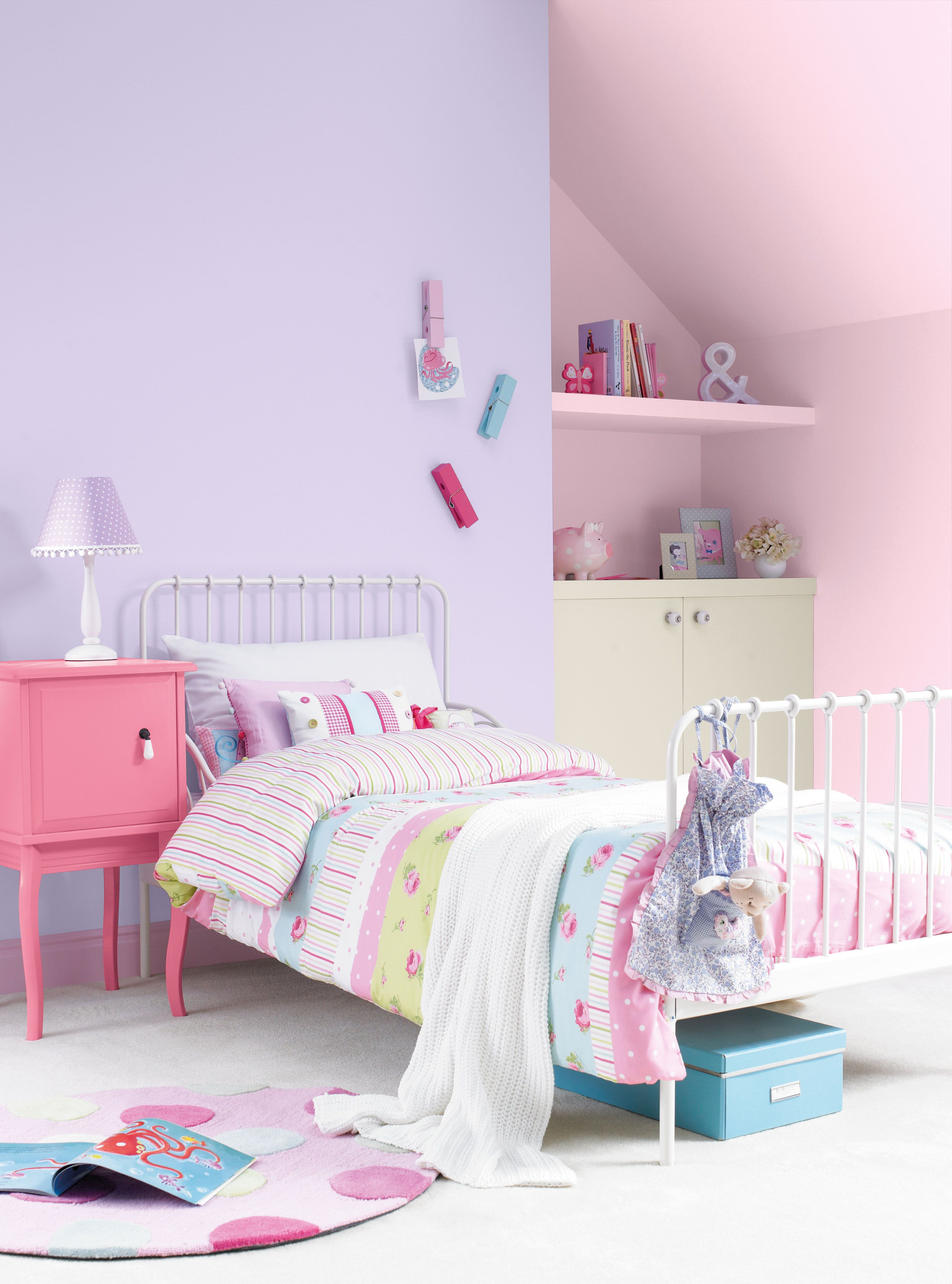Pretty Girls Bedroom Painted With Crown Matt Emulsion In