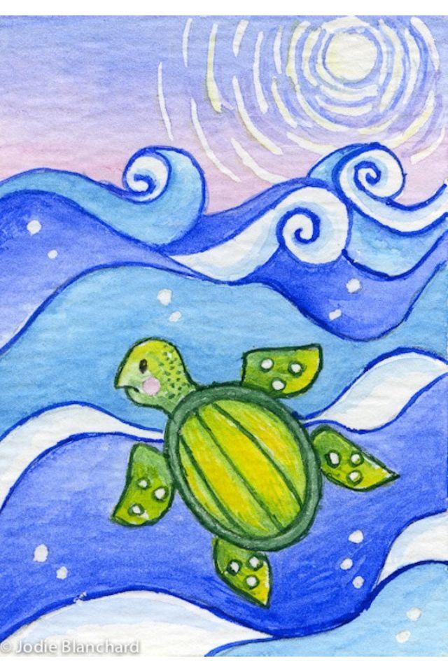 Turtle For Matbg Turtle Painting Whimsical Art Kids Canvas