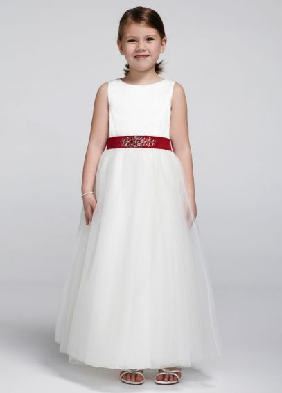 30e5c206e29 Satin Flower Girl Dress with Tulle Skirt S1038