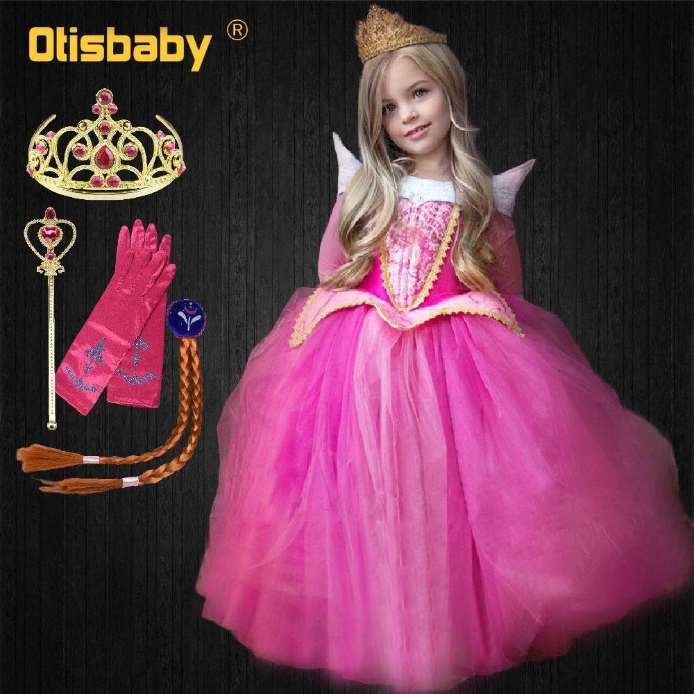 Girls Kids Dress Aurora Princess Sleeping Beauty Cosplay Costume  size 3-10 YEAR