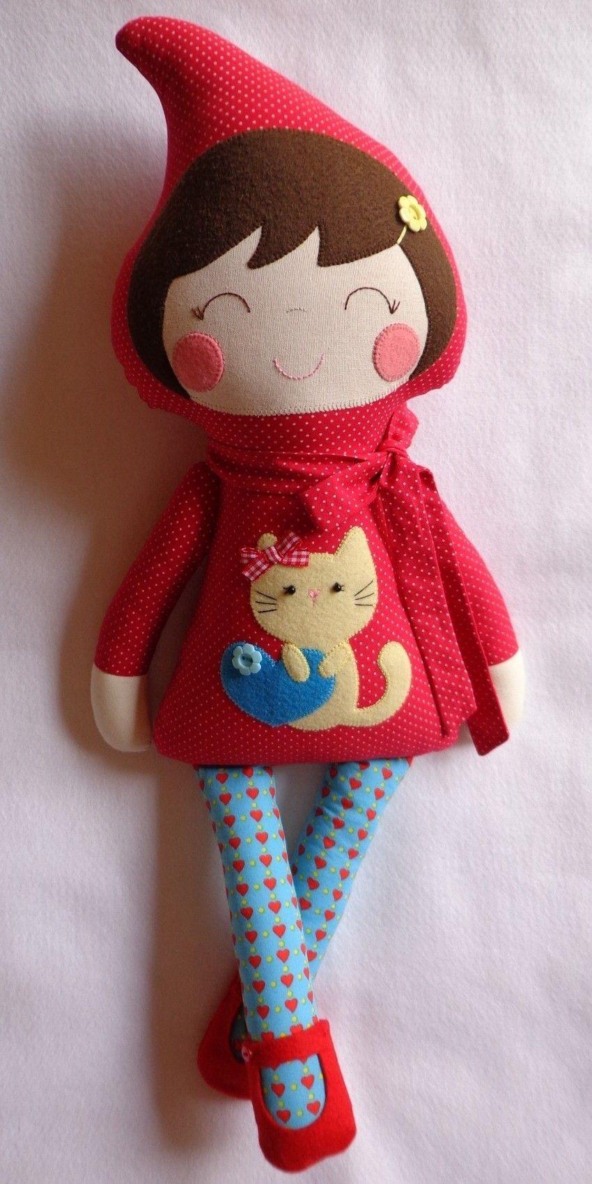 chapeuzinho vermelho, boneca de pano, chapeuzinho de tecido, bonecas artesanais