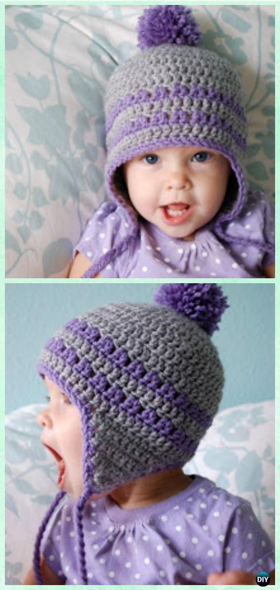 Crochet Simple Earflap Hat Free Pattern Instructions-All Kids Adult ...
