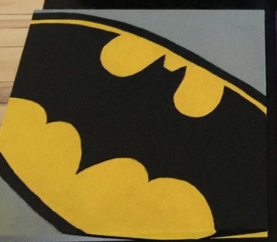 Batman Symbol Gouache Painting On Wood Canvas Batman Room