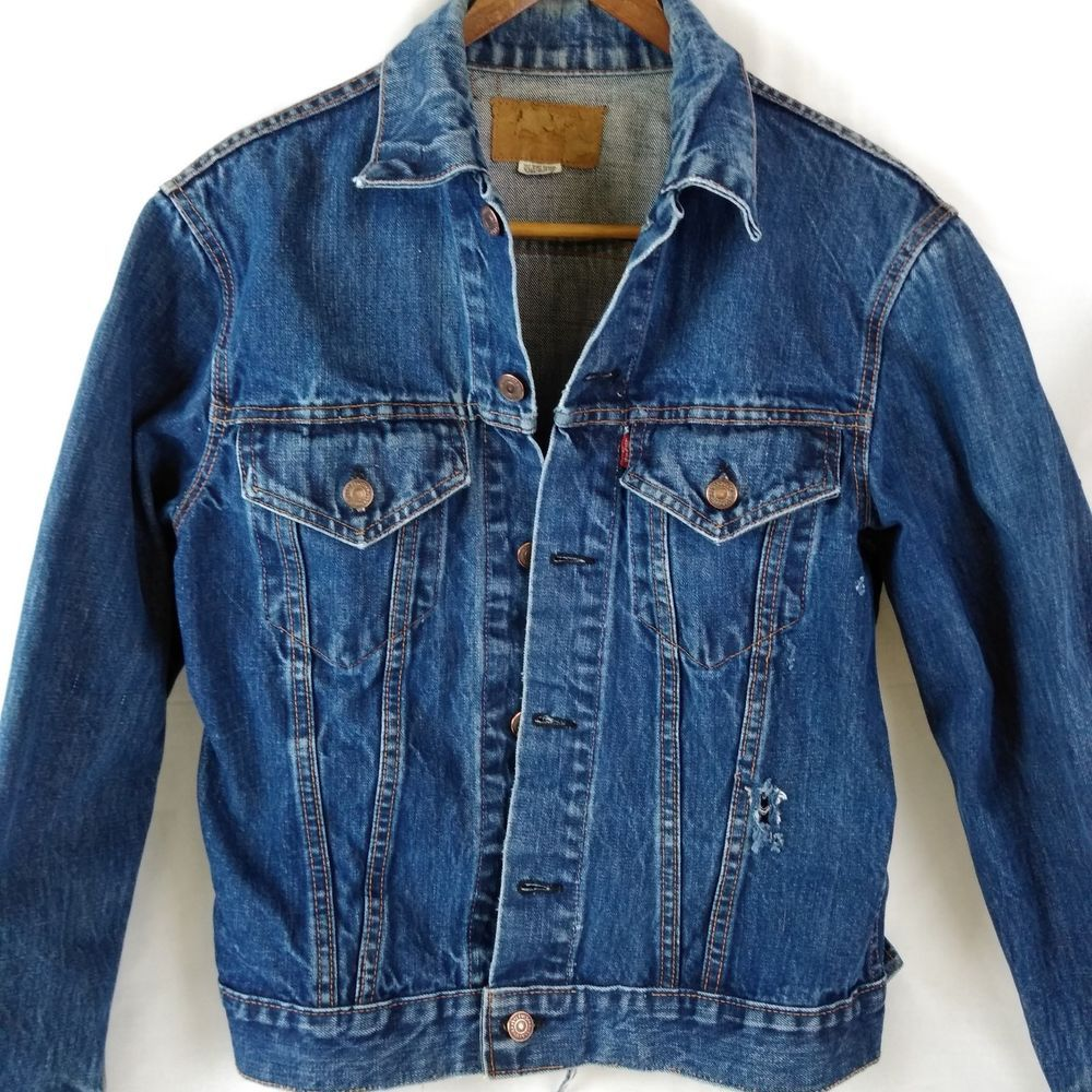 76a9e85da09 60s Big E Levi s Jean Jacket Type III Trucker Care Tag Made USA Vtg Denim  Rugged  Levis  Party