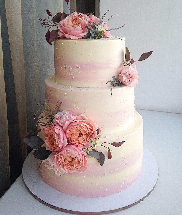 Торт с цветами на свадьбу без мастики трехэтажный в 2020 г ...