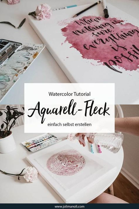 Tutorial: watercolor stain with hand lettering saying on stretcher - jolimanoli -  Simply create your own watercolor stain with a hand lettering saying: It's so easy to paint yo - #Hand #IndianPaintings #jolimanoli #lettering #OilPaintings #Paintings #saying #stain #stretcher #tutorial #watercolor