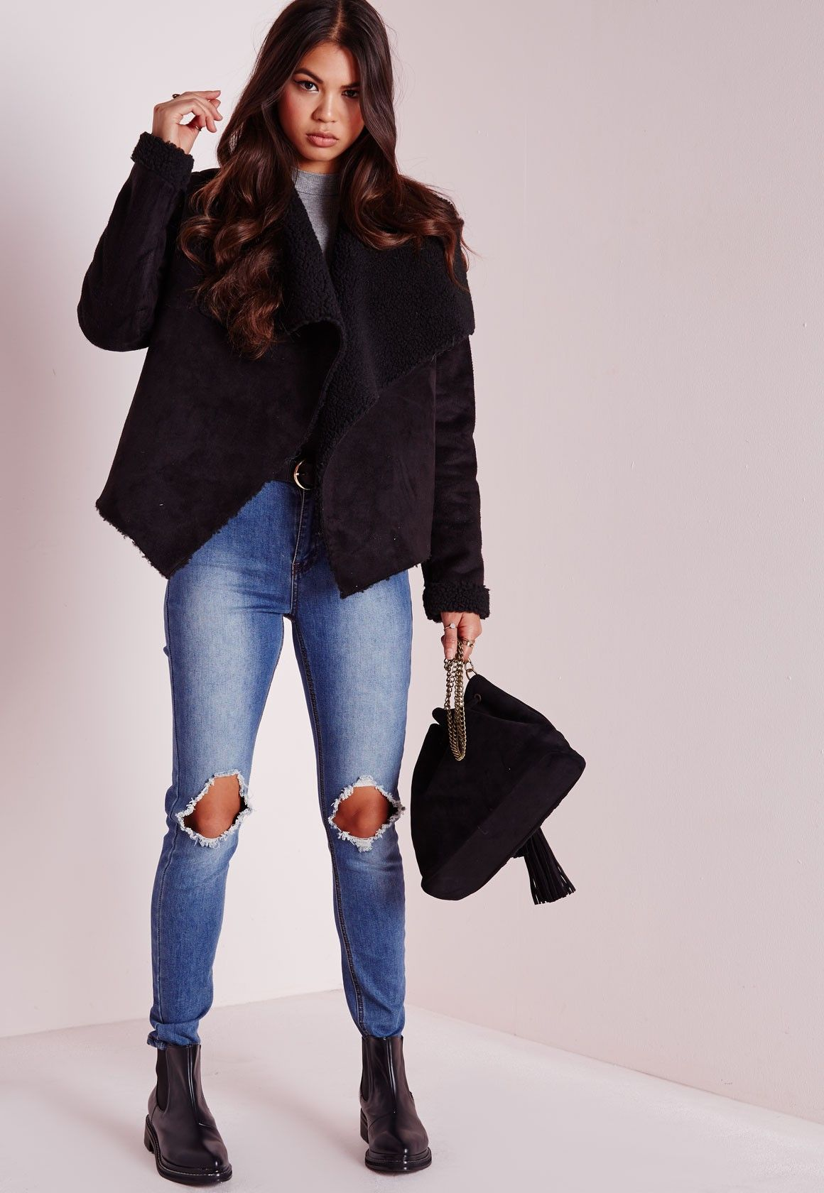 72bd8acf8 Missguided - Faux Suede Waterfall Shearling Coat Black | inspo ...