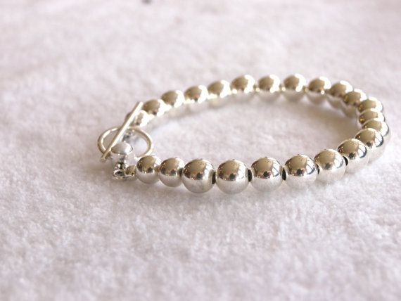 Tiffany style sterling silver  bracelet with 7mm by VdesignJewelry, $65.00