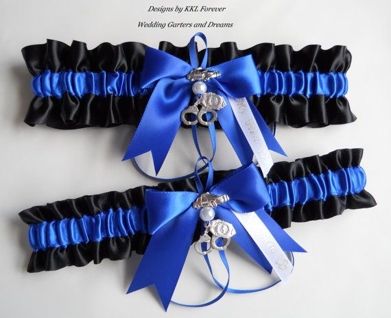 Police Officer Wedding Garter Set Thin Blue Line Handcuff Charms Handmade Black Royal Garters