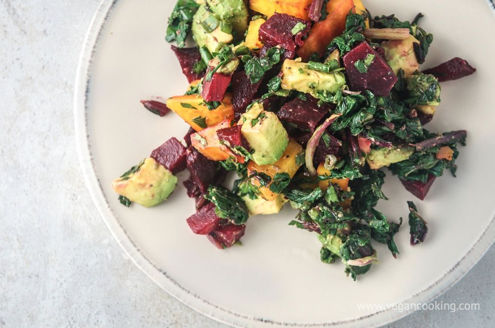 Beet, Beet Green, and Avocado Salad with Tahini Lemon ...
