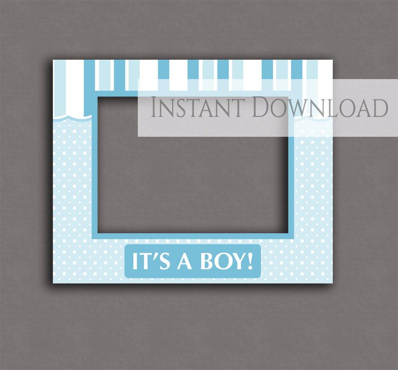 Baby Shower Printable Photobooth Frame Its A Boy Blue Props