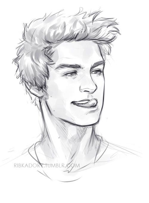 Drawings Of Cute Boys : drawings, RibkaDory, Drawing,, Hair,, Drawing