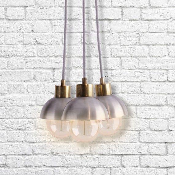 Photo of 3 Cluster Pendant Light | Mixed Metal Modern Ceiling Lighting | Metal Rustic Lighting | Modern Industrial Lighting Chandelier Light Fixture