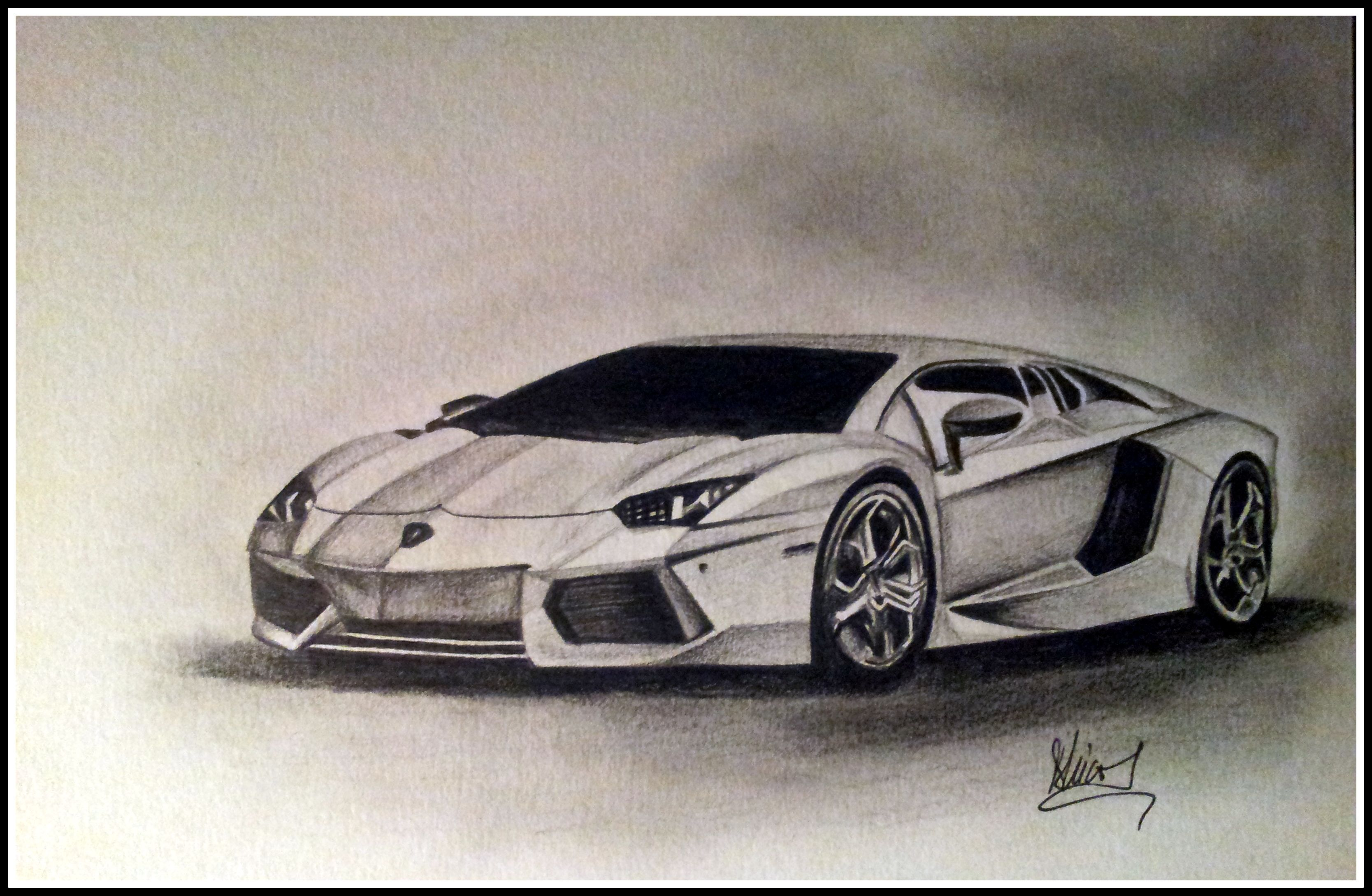 Lamborghini Aventador pencil drawing | My Artwork ...
