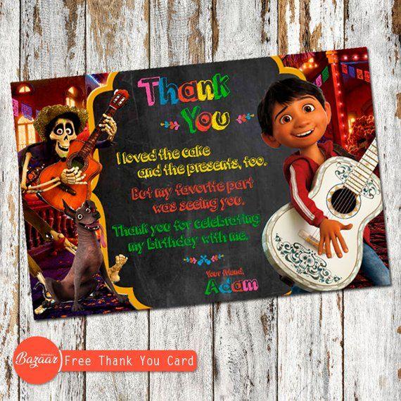 Invitación De Coco Con Gratis Gracias Tarjeta Invitación De