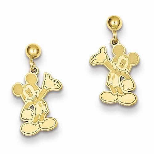 14K Yellow Gold Disney Waving Mickey Dangle Post Earrings