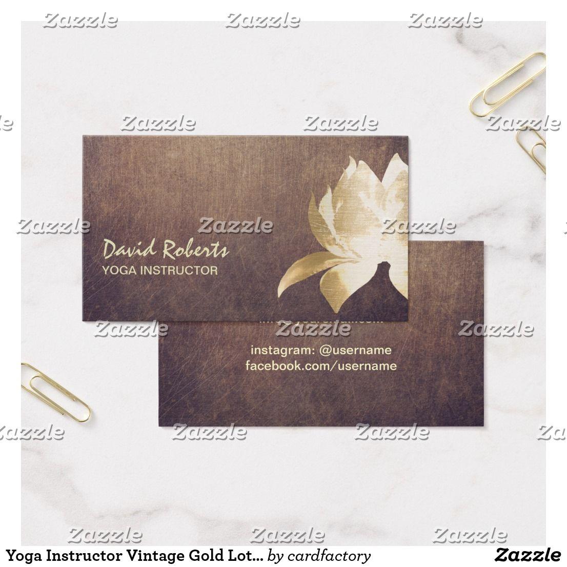 Yoga Instructor Vintage Gold Lotus Flower Business Card | Yoga ...