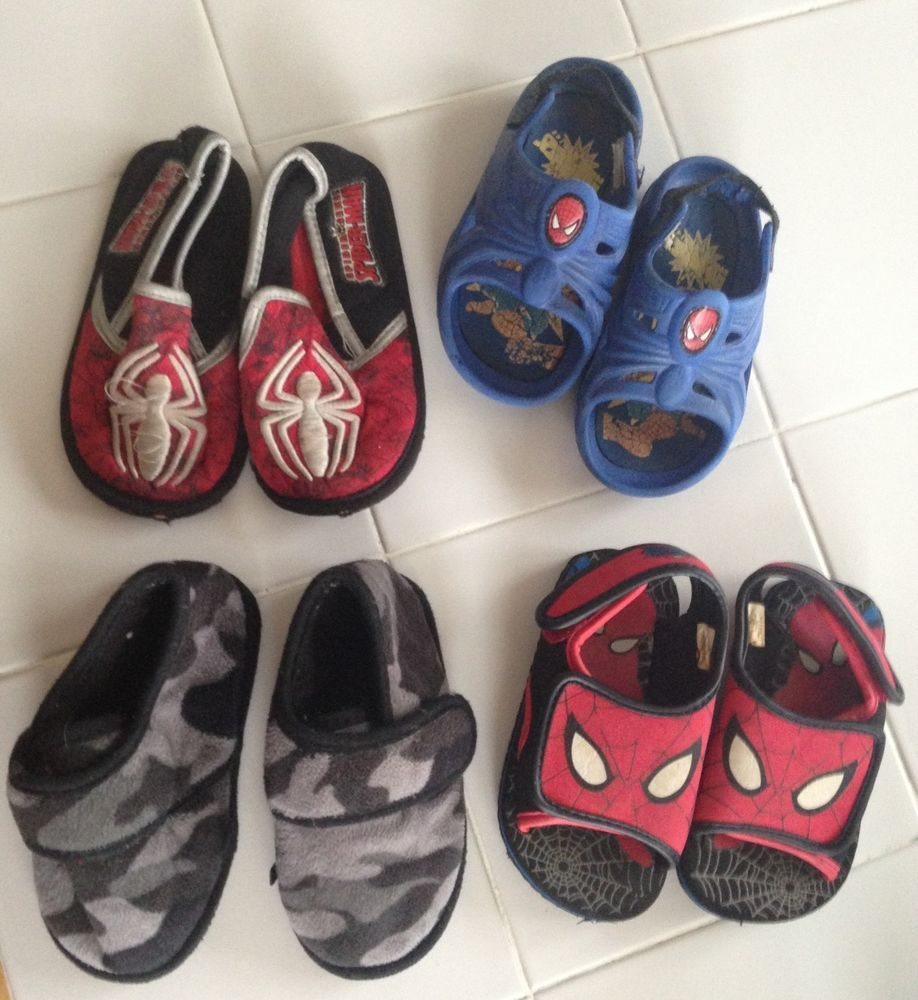 Boys youth Lot 4 pair kids shoes sandals slippers Spiderman Marvel ...