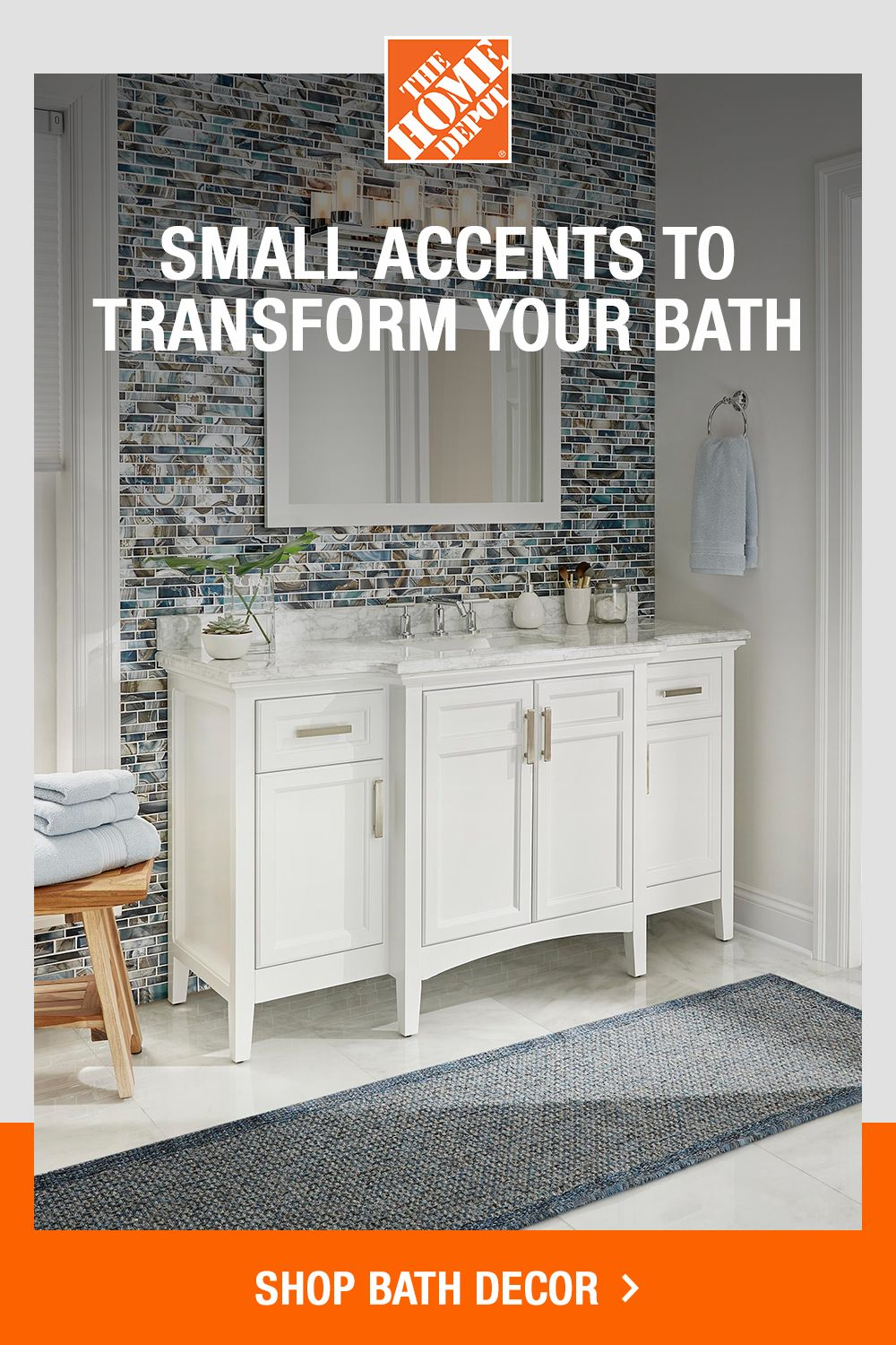 These Small Touches Can Make A Big Impact In Your Bathroom Bathroom Inspiration Decor Home Bathroom Decor Bathroom decor home depot