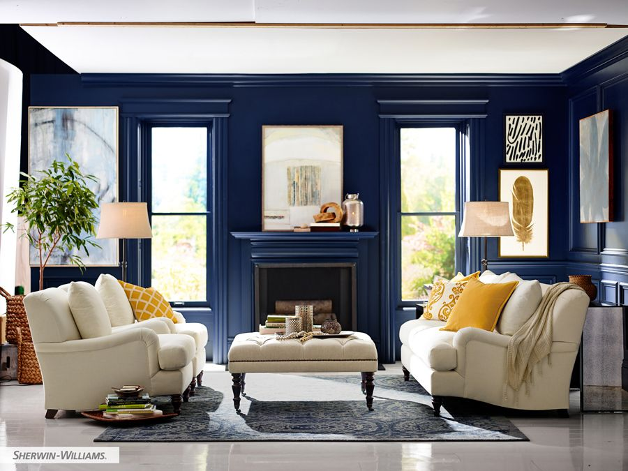 Naval Sw 6244 Blue Paint Color Sherwin Williams Blue Living Room Blue Rooms Living Room Color