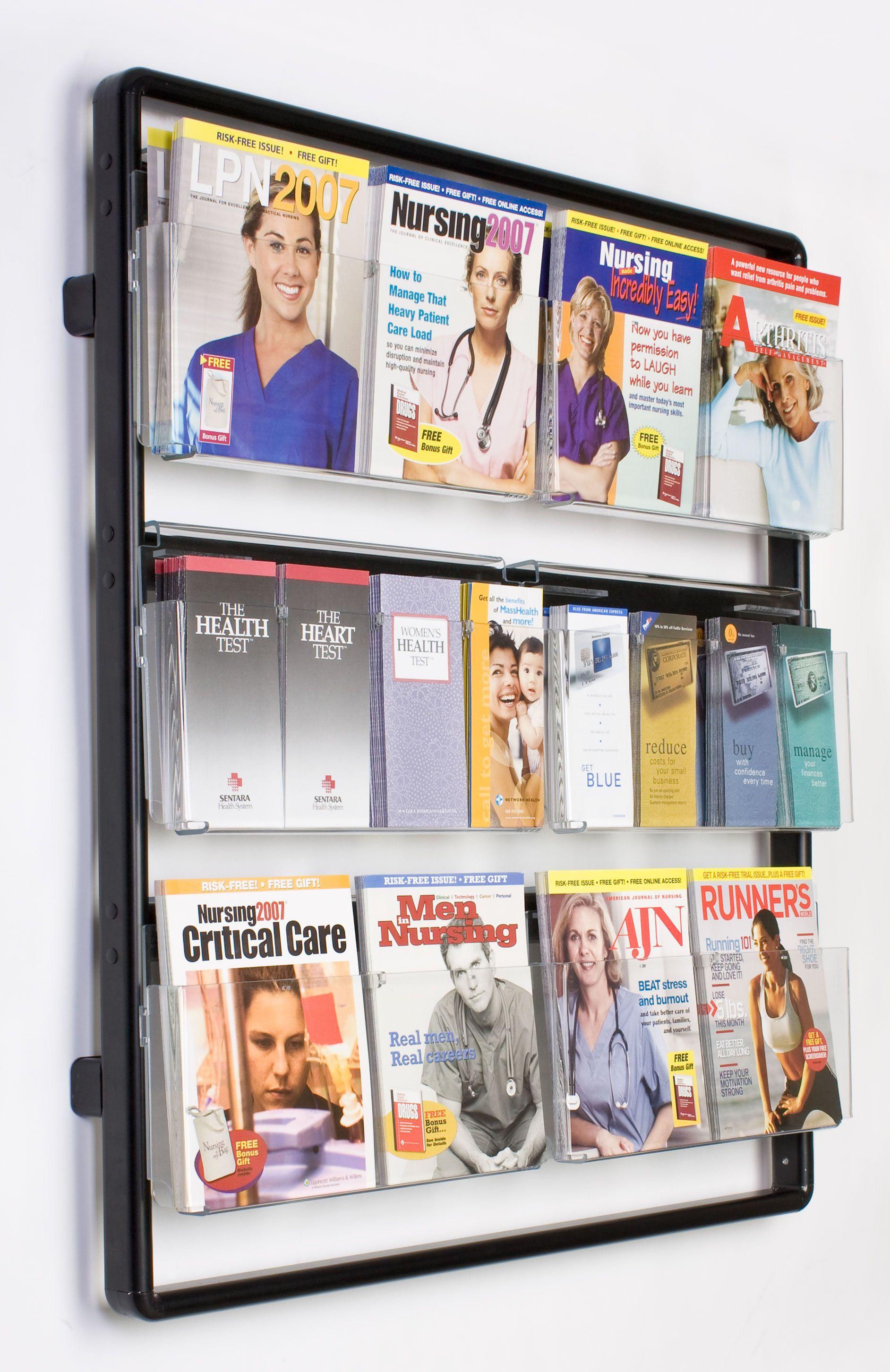 Wall Magazine Rack 12 Or 24 Pocket Adjustable Magazine Holders Brochure Display Wall Racks