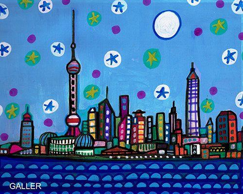 SHANGHAI Original Painting Abstract modern by HeatherGallerArt, $225.00