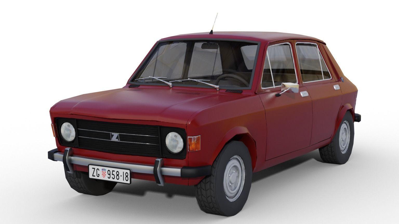 zastava 101 red car low poly 3d model obj mtl fbx stl blend dae 1