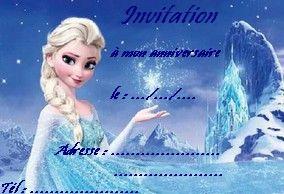carte invitation reine des neiges a