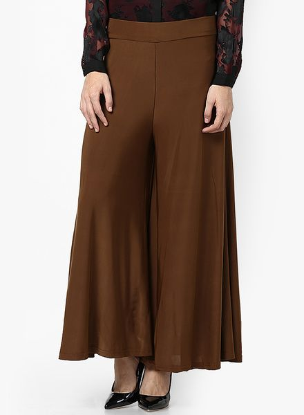 Buy Castle Brown Solid Palazzo for Women Online India, Best Prices, Reviews | CA760WA78GAJINDFAS