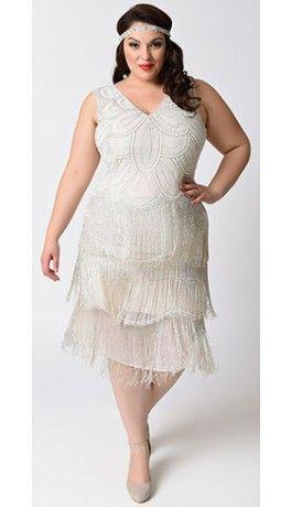 Unique Vintage Plus Size White Beaded Gigi Chiffon Fringe ...