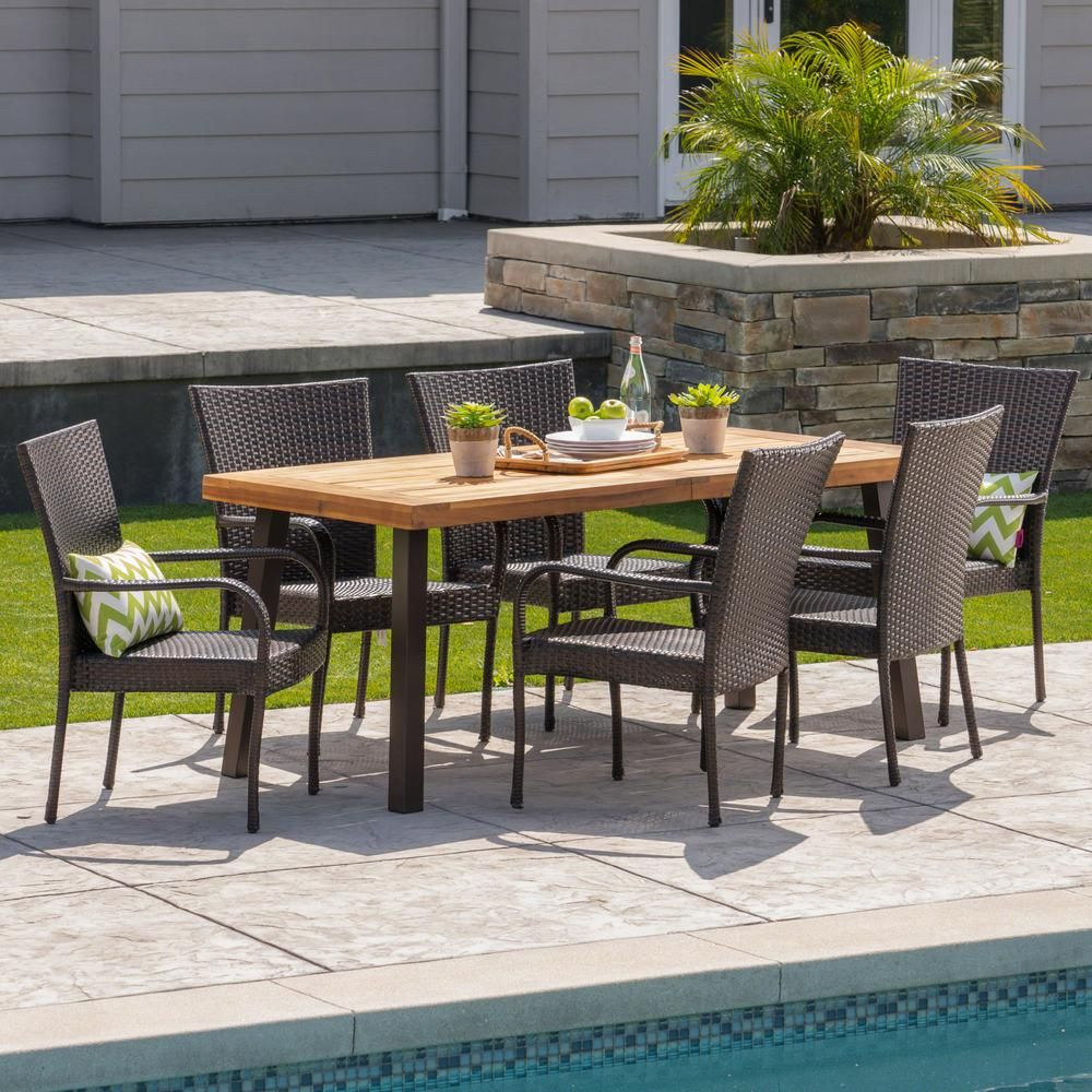 Noble House Malani 7-Piece Wood and Wicker Outdoor Dining Set with Stacking Chairs-41763 - The Home Depot