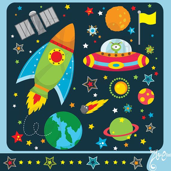 Outer space clipart outer space clip art pack instant for Outer space design