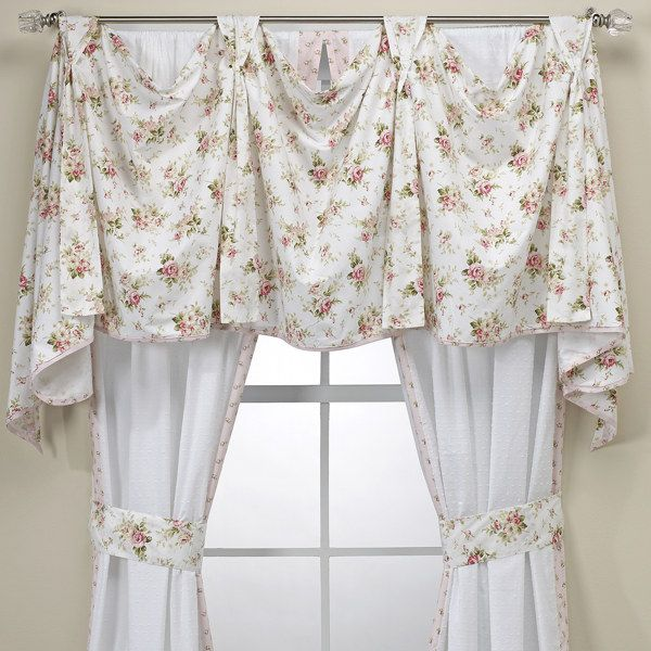 Shabby Chic Bedroom Curtains: Patterened Valence, Solid Panels For Living Room