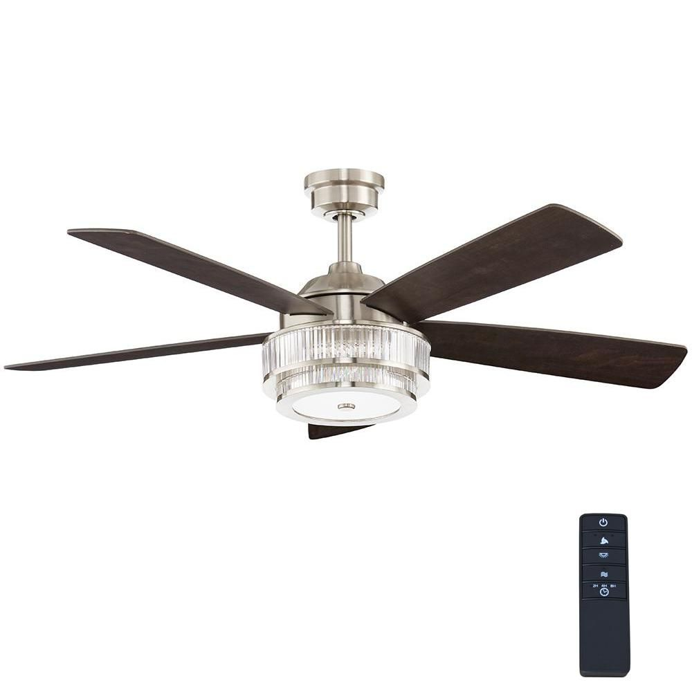 Home Decorators Collection Caldwell 52 In Led Brushed Nickel Ceiling Fan 52384 The Home Depot Brushed Nickel Ceiling Fan Ceiling Fan Ceiling Fan With Light
