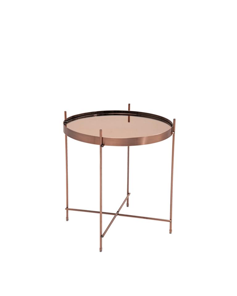 Mesa Blowfeld en cobre con marco en plancha y sobre en vidrio ...