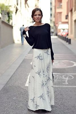dcb5b681ada ZARA LONG PRINTED SKIRT Dragonfly Maxi Flowing Black White NWT, Pick Size M  L