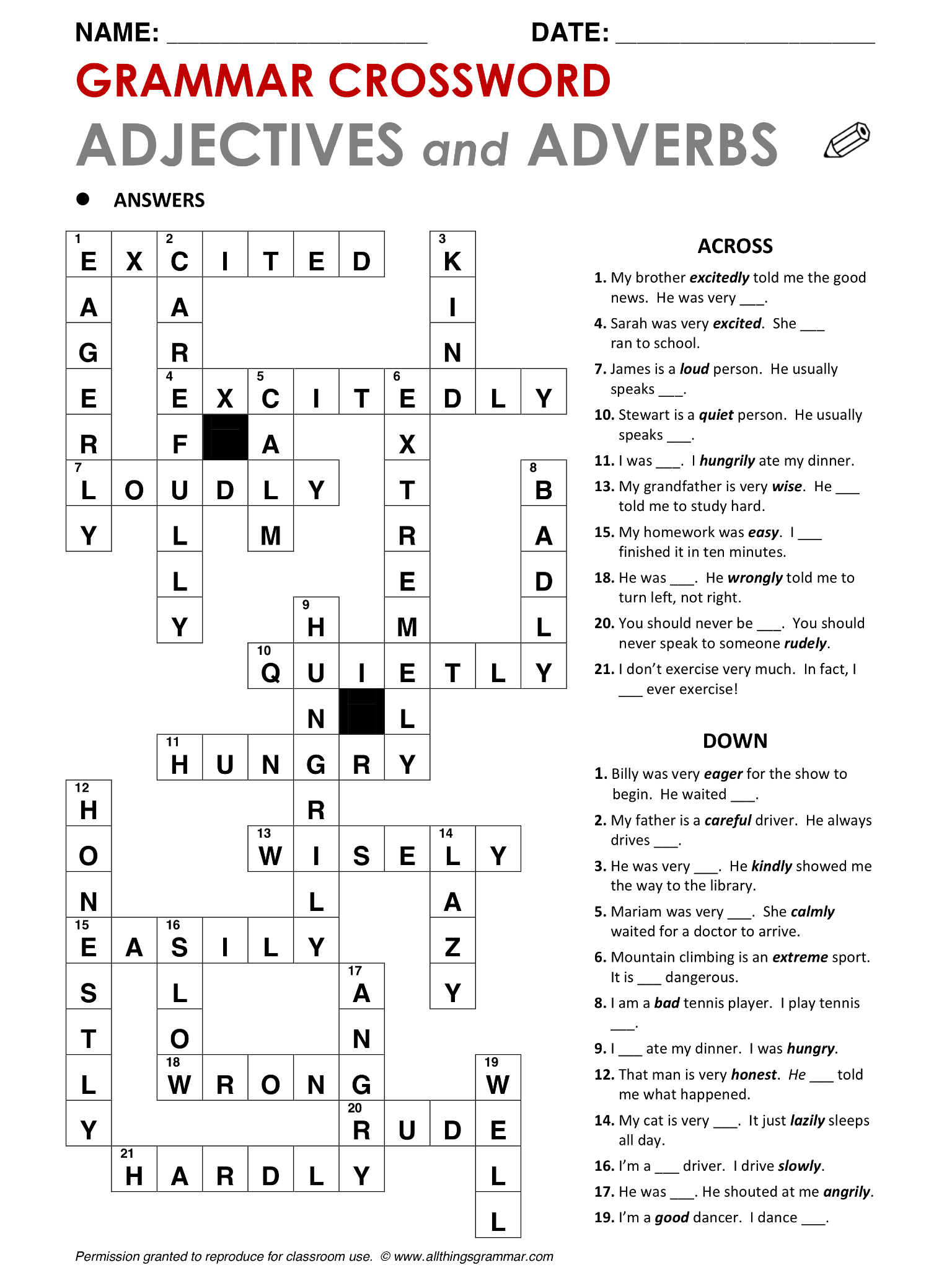 Adverb worksheets middle school