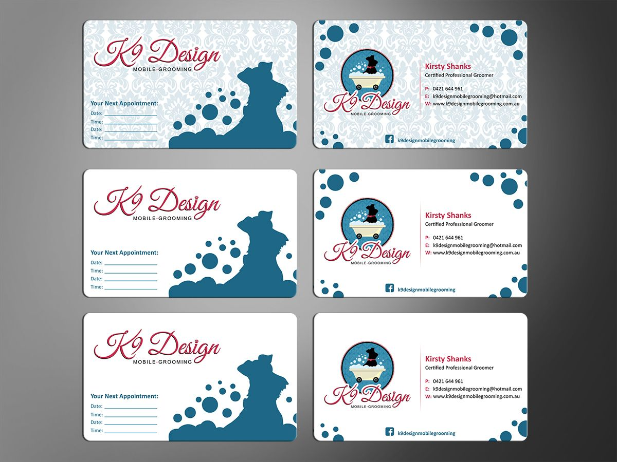 business card designmt for mobile dog grooming business card