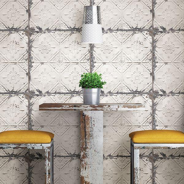 Vintage Tin Tile Peel & Stick Wallpaper | Q York City ...