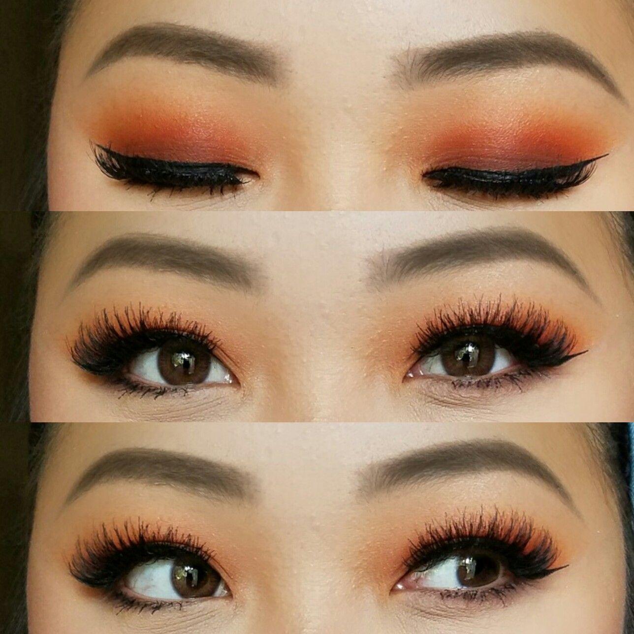 Soft smokey orange makeup. Great look for monolids. Makeup