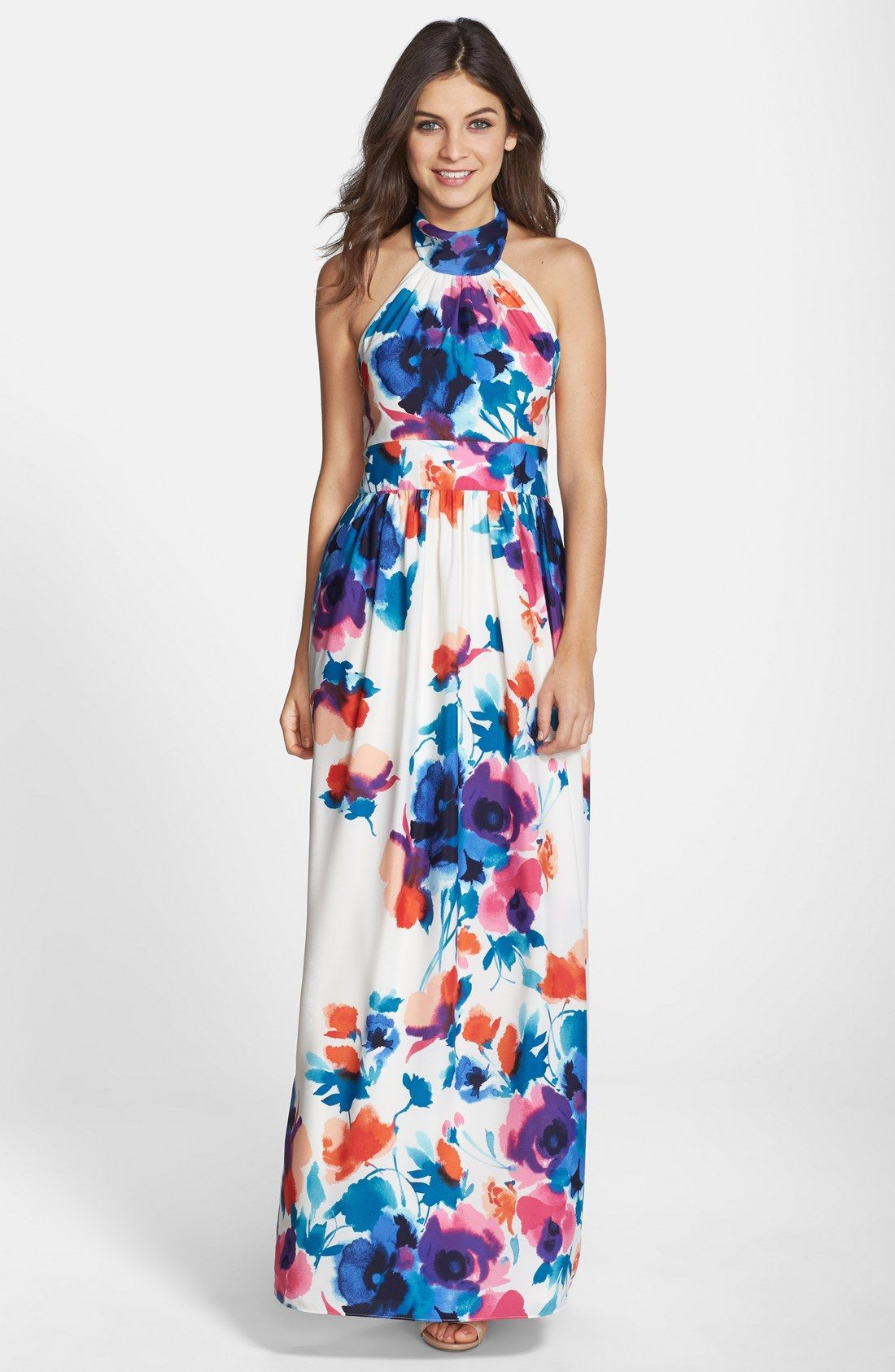 Eliza J Floral Print Halter Maxi Dress (Regular & Petite) at ...