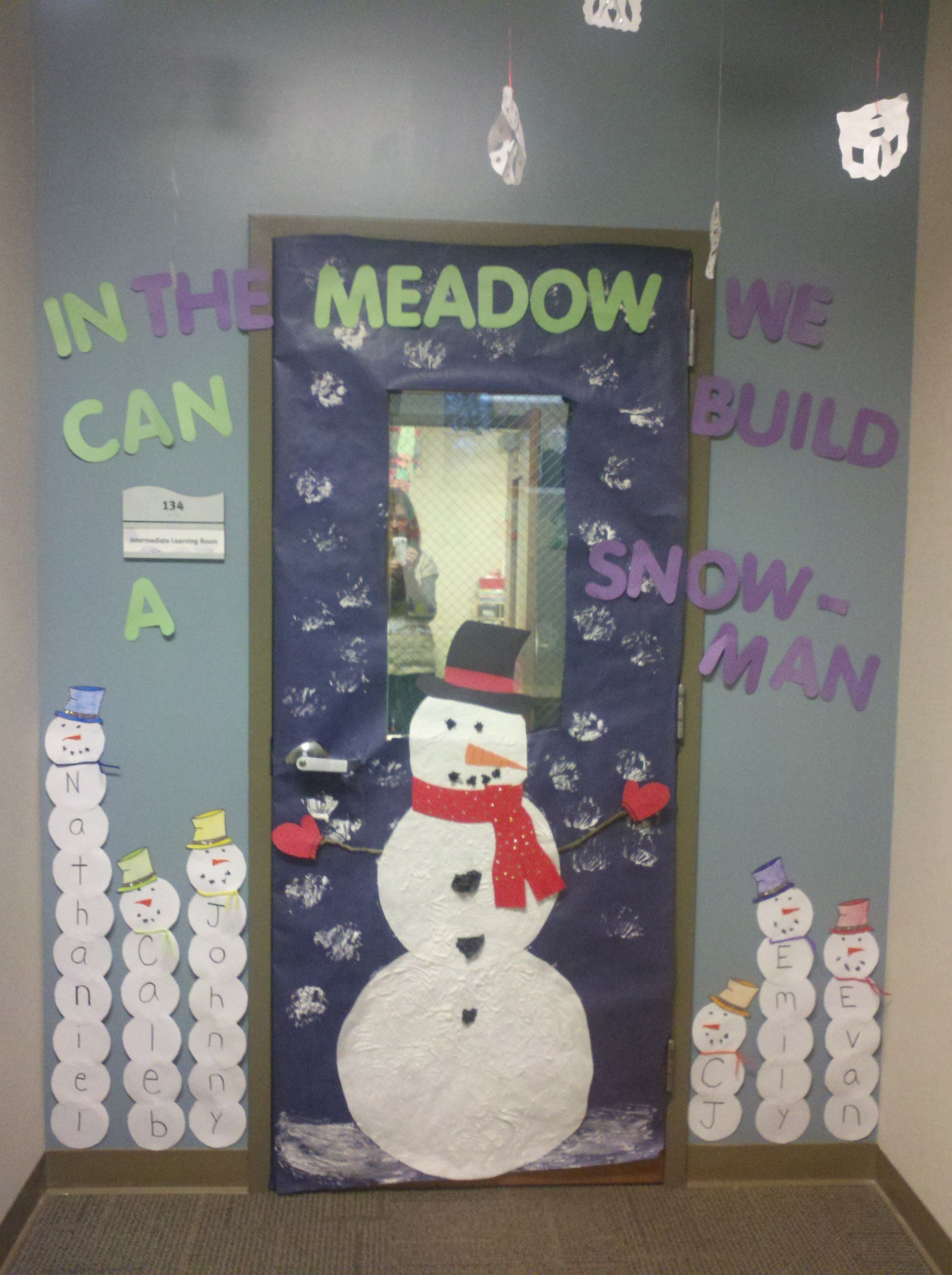 Winter Theme Classroom Door Snowman Elmers Glue And