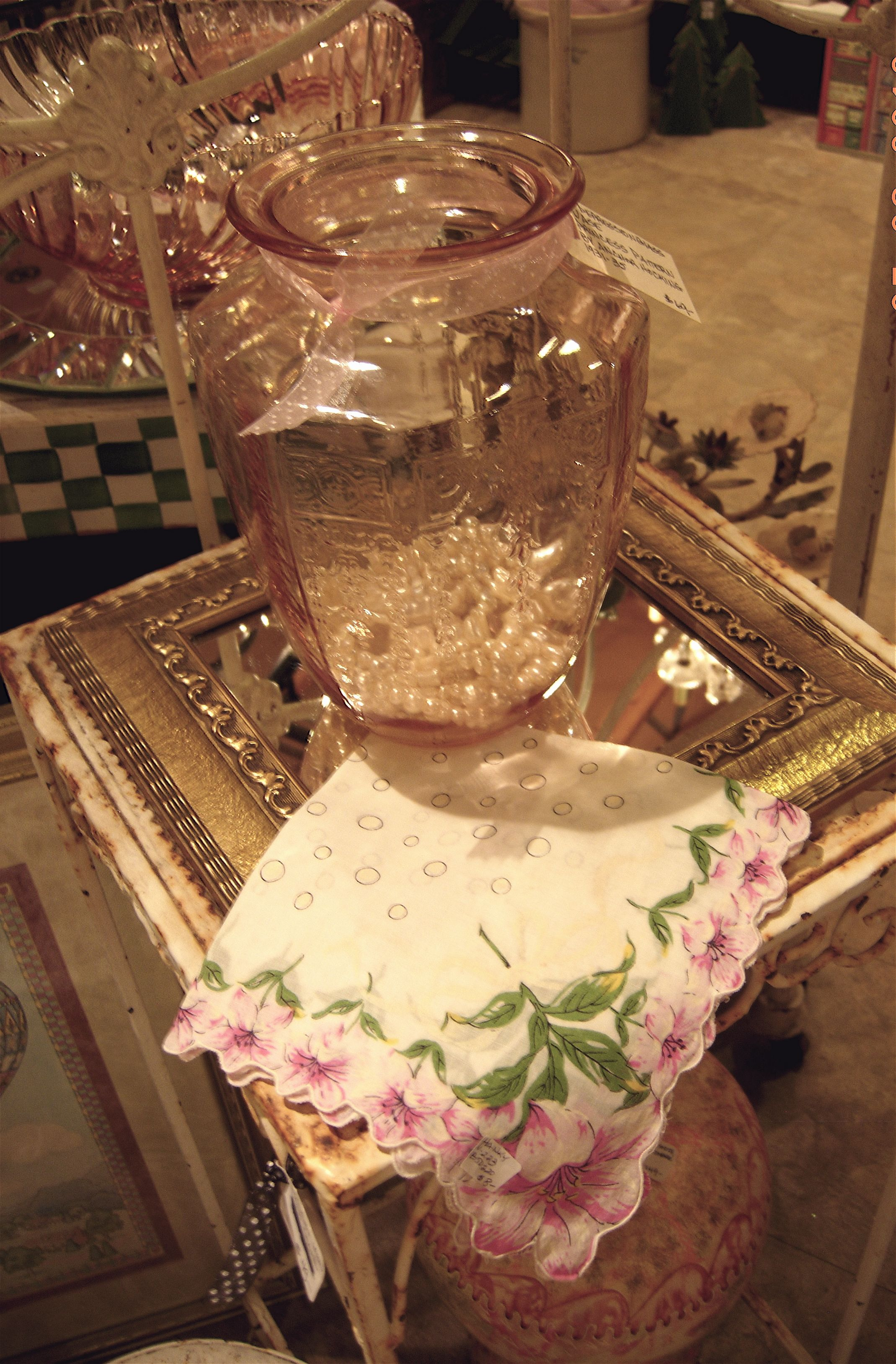 Vintage pink depression glass vase chez laurice shoppe vintage pink depression glass vase reviewsmspy