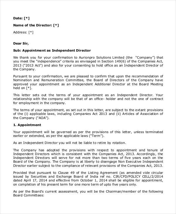 appointment letter template examples free amp premium templates - appointment letter in doc
