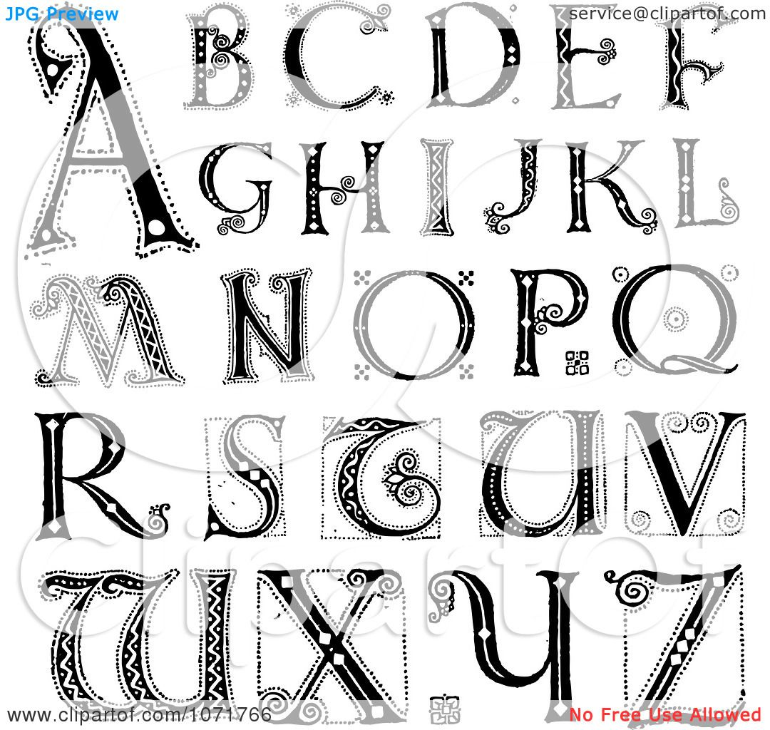 Alphabet Letters  Clipart Black And White Capital Vintage Styled