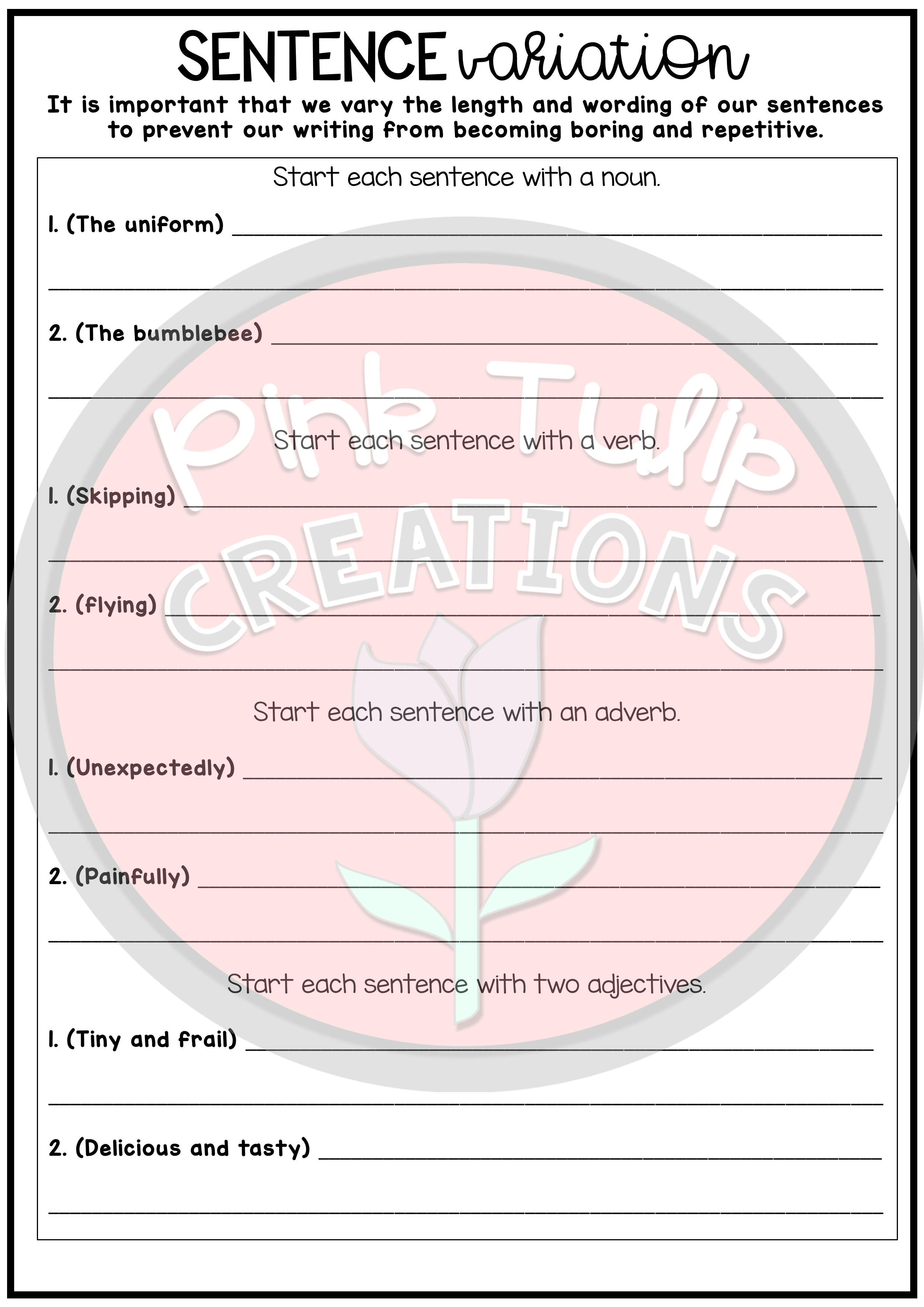 Narrative Writing Worksheet Pack
