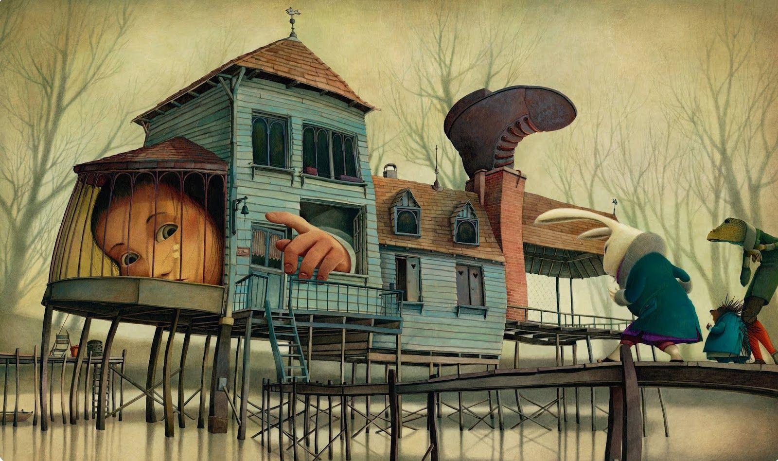 """Один из разворотов из """"Алисы в Стране чудес"""" с иллюстрациями Ребекки Даутремер."""