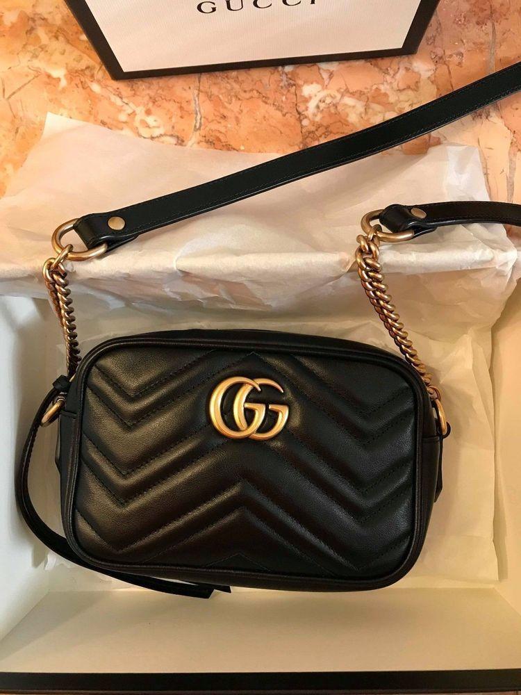 ff988ce429e491 Authentic Gucci GG Marmont Matelasse Mini Bag handbag Crossbody Chain Black  Gold